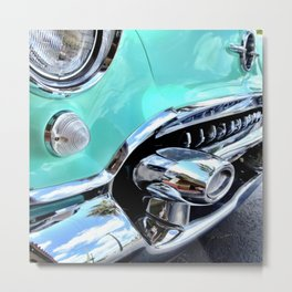 Turquoise Blue Vintage Car Metal Print
