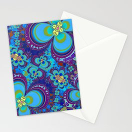 Bright Blue And Purple Flower Pattern Stationery Cards