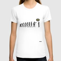 WTF? Evolution! Womens Fitted Tee White MEDIUM