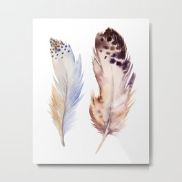 neutral feathers Metal Print