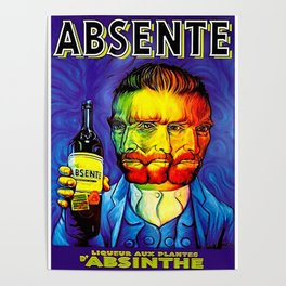 Absente (Absinthe) Van Gogh Parody Vintage Poster, tshirts, tees, jersey, posters, tshirts, Prints, Poster