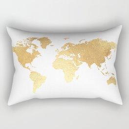 Textured Gold Map Rectangular Pillow