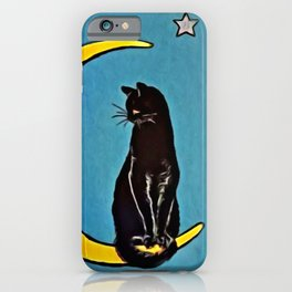 Black Cat & Moon iPhone Case
