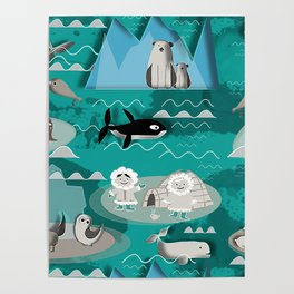 Arctic animals teal Poster