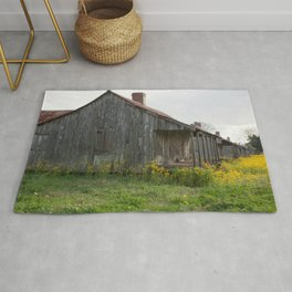 Plantation Slave Quarters with flowers Rug