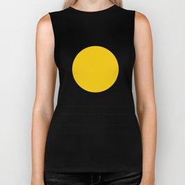 Midcentury Yellow Minimalist Sunset With Black Stripes Biker Tank
