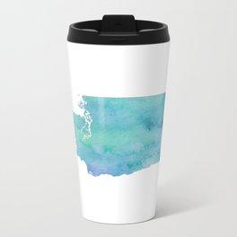 Watercolor Washington State Metal Travel Mug