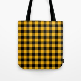 Jumbo Goldenrod Yellow and Black Rustic Cowboy Cabin Buffalo Check Tote Bag