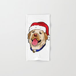 Labrador Retriever Dog Christmas Hat Present Hand & Bath Towel