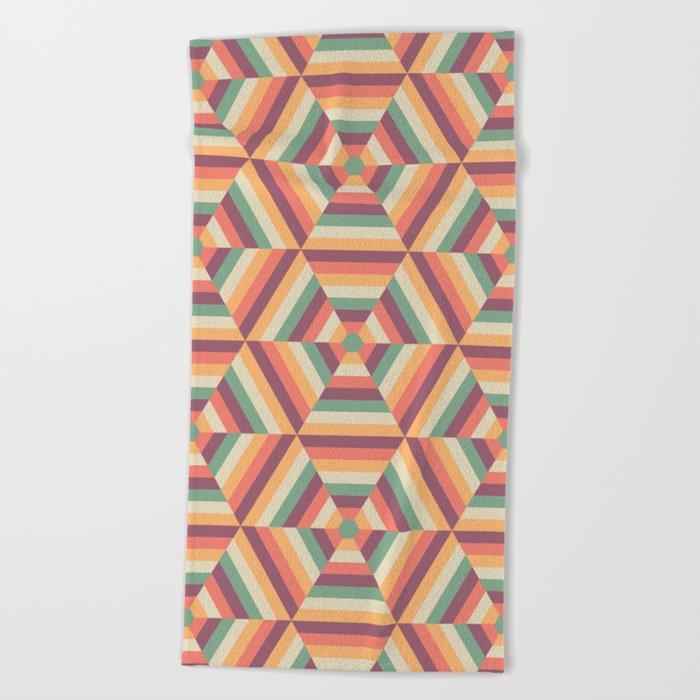 Retro colorful striped hexagons Beach Towel