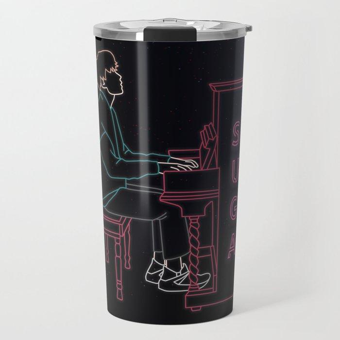 BTS SUGA WITH PIANO LINE ART Travel Mug