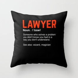 Lawyer Definition Attorney Gift Throw Pillow