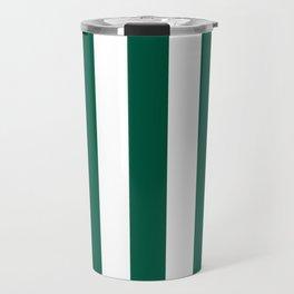 Castleton green - solid color - white vertical lines pattern Travel Mug