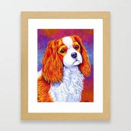 Colorful Cavalier King Charles Spaniel Framed Art Print