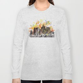 Los Angeles Cityscape Skyline Painting Long Sleeve T-shirt