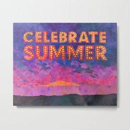 Celebrate Summer Sunset Scene Watercolor Painting Metal Print