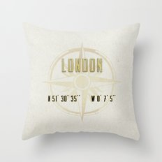 London - Vintage Map and Location Throw Pillow