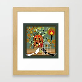 Two birds, one of them in the cage Framed Art Print