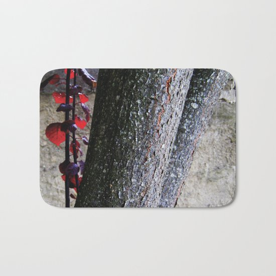 Urban tree with red leaves Bath Mat