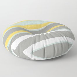 Stripe Abstract, Sun and Beach, Yellow, Pale, Aqua Blue and Gray Floor Pillow