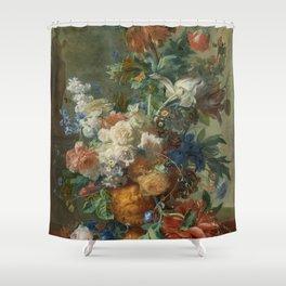 Jan van Huysum - Still life with flowers (1723) Shower Curtain