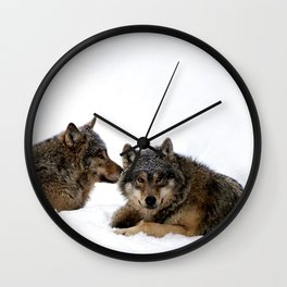 Wolves In the Snow Wall Clock
