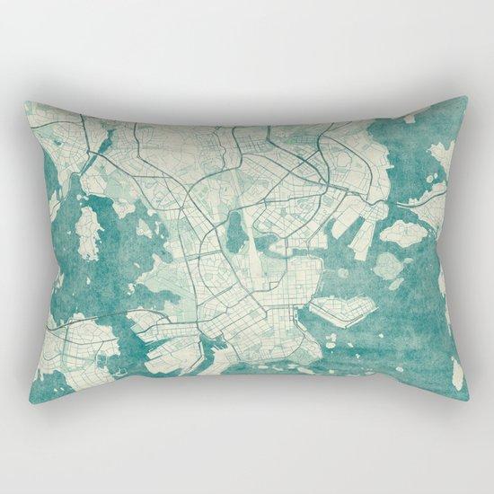Helsinki Map Blue Vintage Rectangular Pillow