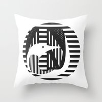 diver Throw Pillows featuring diver by Gray