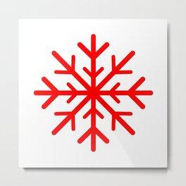 Snowflake (Red & White) Metal Print