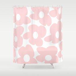 Large Baby Pink Retro Flowers on White Background #decor #society6 #buyart Shower Curtain