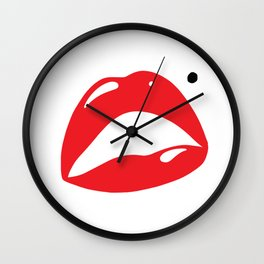 Sexy Lipstick Lips Kissing With A Beauty Spot Wall Clock