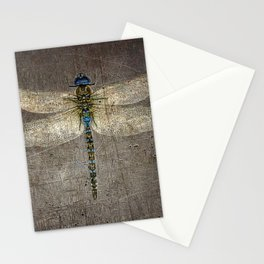 Dragonfly On Distressed Metallic Grey Background Stationery Cards