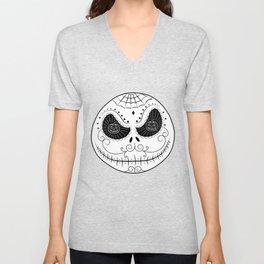Jack's Skull Sugar (Vector Mexican Skull) Unisex V-Neck