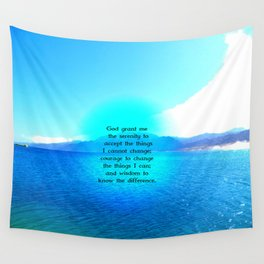 Serenity Prayer With Blue Ocean and Amazing Sky Wall Tapestry