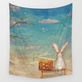 Sad rabbit  with suitcase sitting on the bench on the cloud in sky  Wall Tapestry