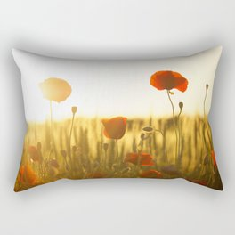 Sunset Poppys Field Landscape Rectangular Pillow