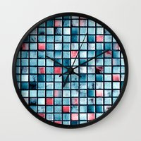 square Wall Clocks featuring square by Claudia Drossert