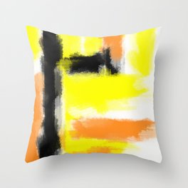orange yellow and black painting abstract with white background Throw Pillow