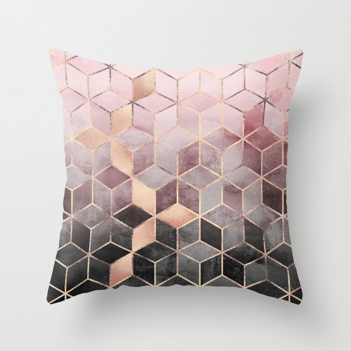 Grey And Pink Decorative Pillows : Pink And Grey Gradient Cubes Throw Pillow by elisabethfredriksson Society6
