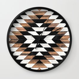 Urban Tribal Pattern No.13 - Aztec - Concrete and Wood Wall Clock