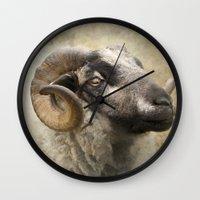 ram Wall Clocks featuring Ram by Pauline Fowler ( Polly470 )