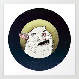 Meowing at the Moon Art Print