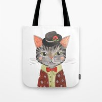 oana befort Tote Bags featuring COOL CAT by Oana Befort