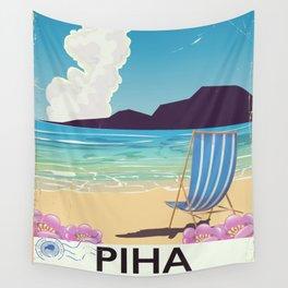 Piha New Zealand vacation poster Wall Tapestry