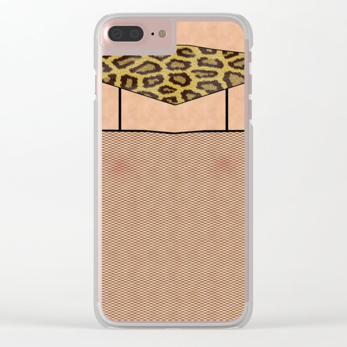 Fishnet Stockings and Leopard Skin Knickers Clear iPhone Case