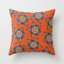 stapelia flower Throw Pillow