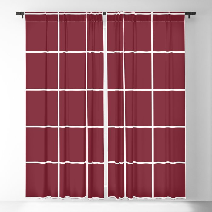 Minimal grid pattern on red Blackout Curtain