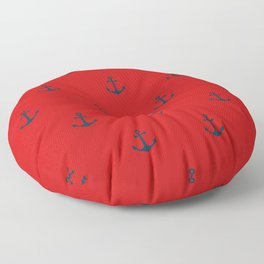 Navy Sailor Anchor Pattern Blue And Red Floor Pillow