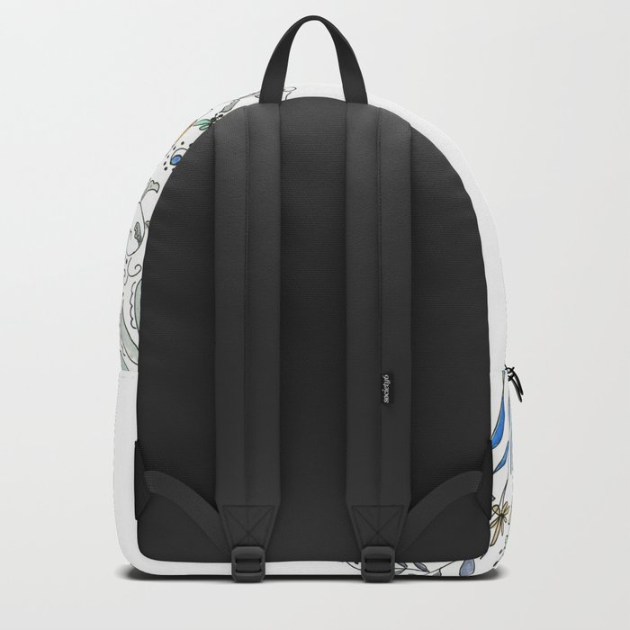 Watercolor pattern . The flowers of the field . 2 Backpack