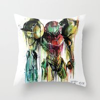 samus Throw Pillows featuring Samus Aran by David Lakin